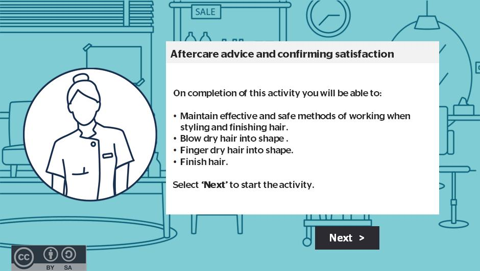 Aftercare advice and confirming satisfaction activity thumbnail