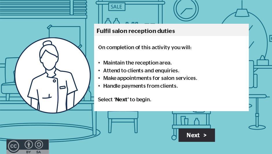 Fulfil salon reception duties activity thumbnail
